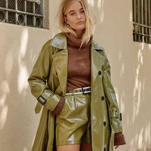 Vinyl Countdown Belted Olive Green Trench Coat